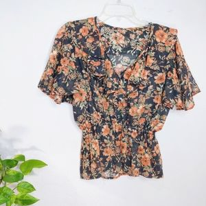 Vintage Cotton Ruffle Blouse Top Small
